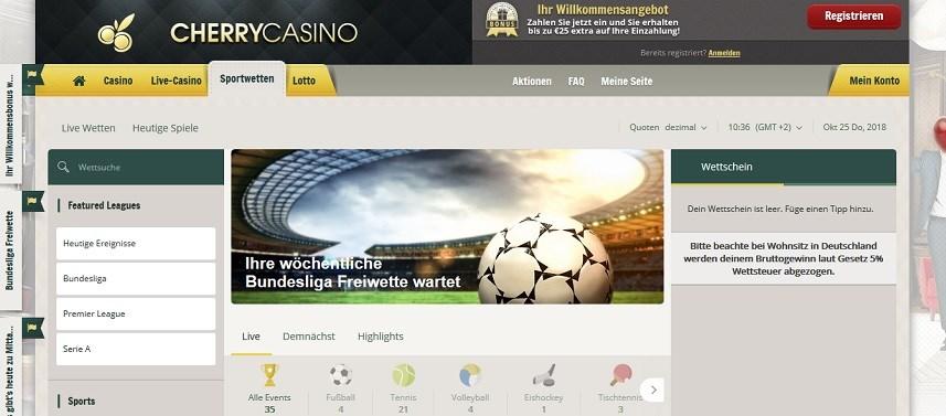 Cherry Casino Sportwetten