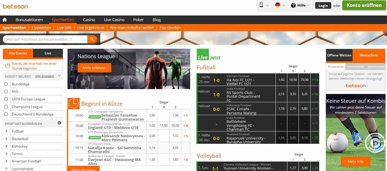 BettssonCasino Sportwetten