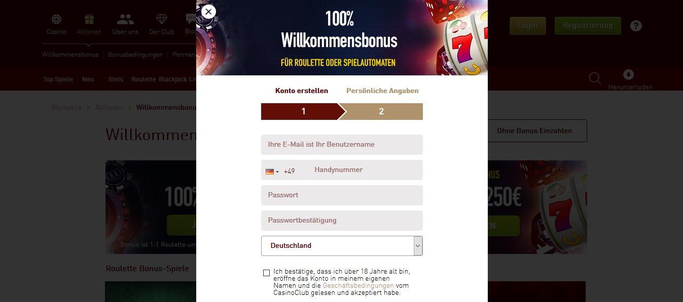 CasinoClub Online Anmeldung